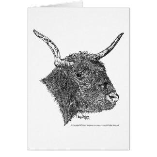Bull con la pluma de los cuernos y el dibujo de la tarjeta de felicitación