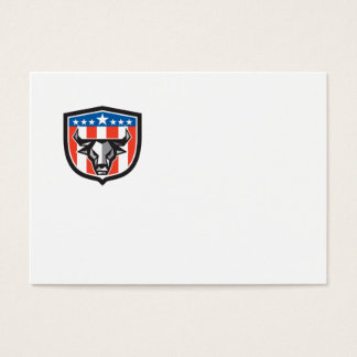 Bull Cow Head USA Flag Crest Low Polygon Business Card