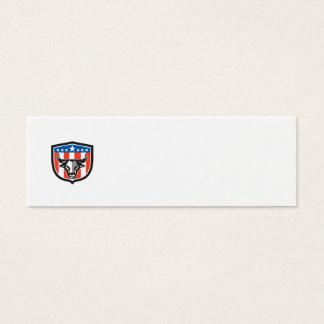 Bull Cow Head USA Flag Crest Low Polygon Mini Business Card