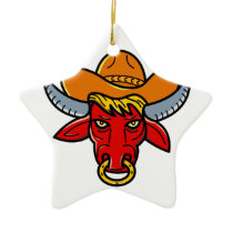 Bull Cowboy Hat Mono Line Art Ceramic Ornament