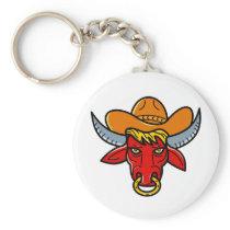 Bull Cowboy Hat Mono Line Art Keychain