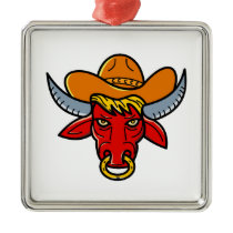 Bull Cowboy Hat Mono Line Art Metal Ornament
