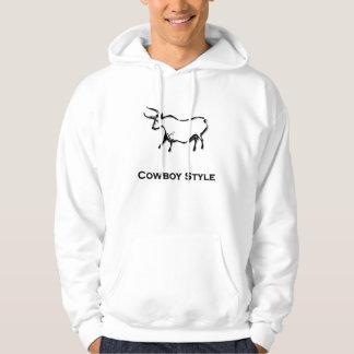 Bull Cowboy Style Black Hoodie