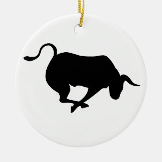 Bull de carga adorno navideño redondo de cerámica
