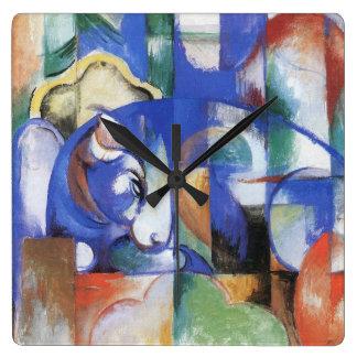 Bull de mentira de Franz Marc, cubismo del vintage Relojes De Pared