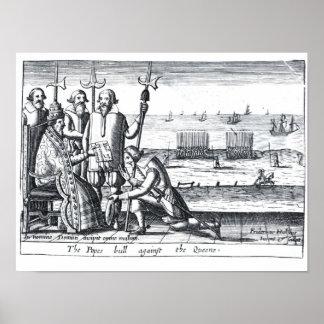 Bull del papa contra la reina en 1570 póster