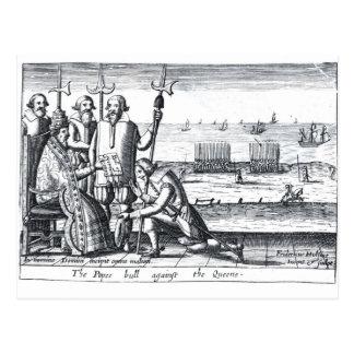 Bull del papa contra la reina en 1570 tarjeta postal