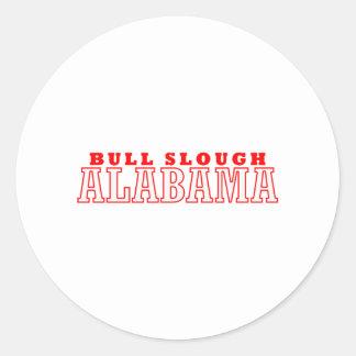 Bull diseño de la ciudad de Slough, Alabama Pegatina Redonda