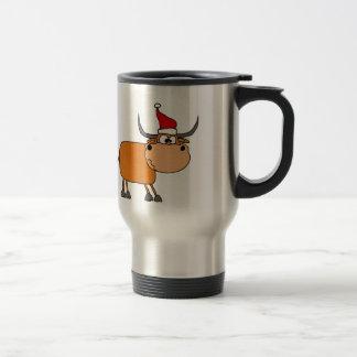 Bull divertida en diseño del navidad del gorra de taza térmica