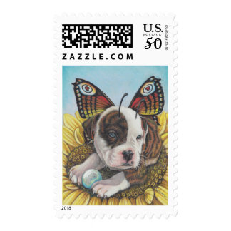Bull Dog Butterfly Fairy Wings art print Postage