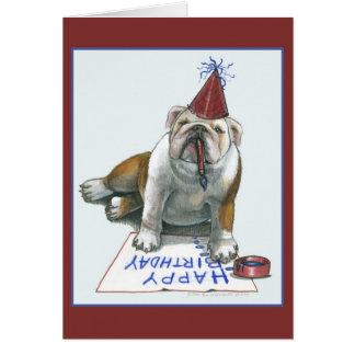 Bull Dog Happy Birthday Card