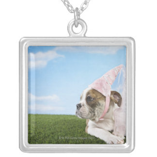 Bull Dog puppy princess Silver Plated Necklace