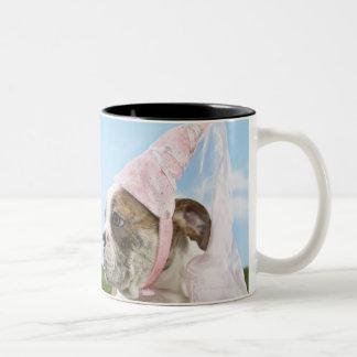 Bull Dog puppy princess Two-Tone Coffee Mug
