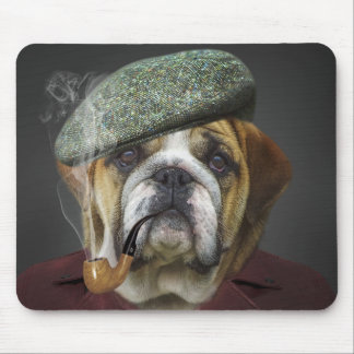 Bull Dog With Cap and Pipe Mouse Pad