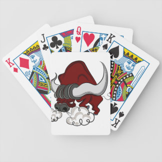 Bull Drawing Cartoon Character Bicycle Playing Cards