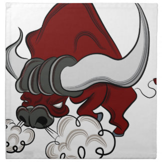 Bull Drawing Cartoon Character Cloth Napkin