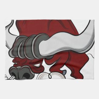 Bull Drawing Cartoon Character Hand Towel