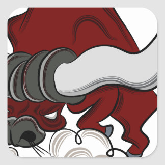 Bull Drawing Cartoon Character Square Sticker