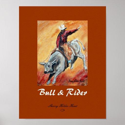 Bull e impresión del jinete - modificada para póster