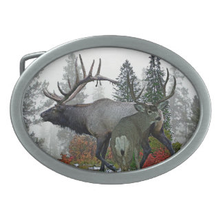 Bull elk And Buck deer 3 Oval Belt Buckle