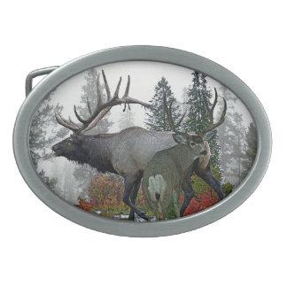 Bull elk And Buck deer 3 Oval Belt Buckle