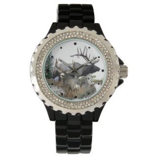 Bull elk and buck deer wrist watch