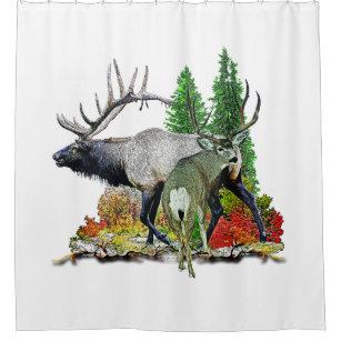 Bull Elk And Mule Deer Buck Shower Curtain