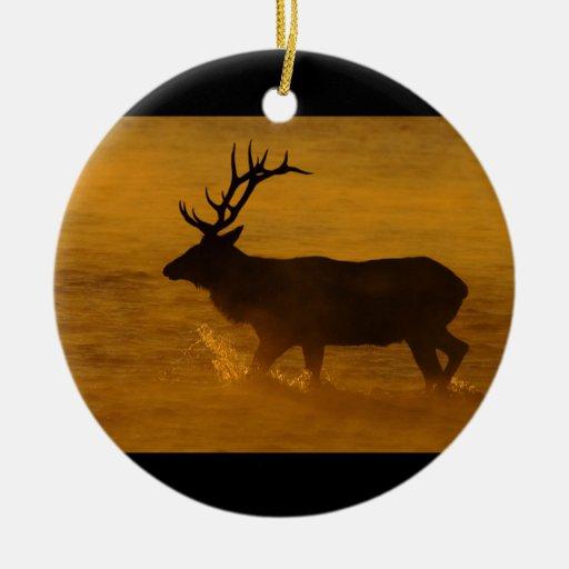 Bull Elk at Sunrise Christmas Tree Ornament