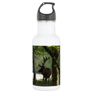 Bull Elk at wood edge Camouflage Water Bottle