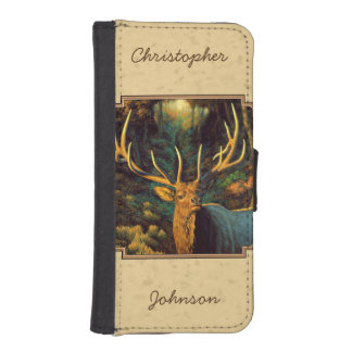 Bull Elk Autumn Yellow Wallet Phone Case For iPhone SE/5/5s