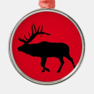 Bull elk black metal ornament