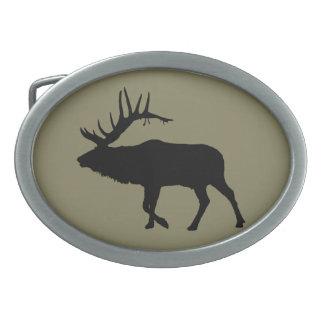 Bull elk black oval belt buckle