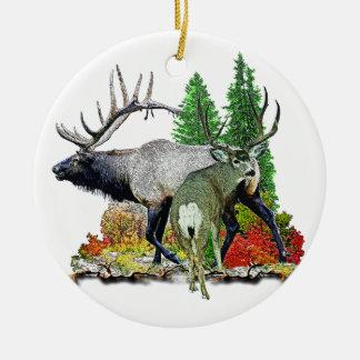 Bull elk  buck deer ceramic ornament