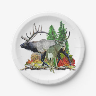 Bull elk  buck deer paper plate