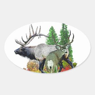 Bull elk  buck deer oval stickers