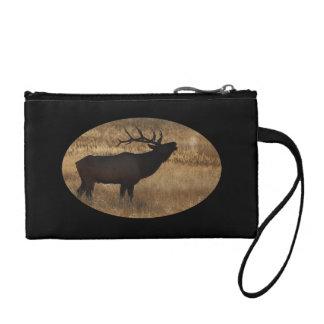 Bull elk bugling in silhouette coin purse