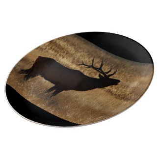 Bull Elk Bugling in Silhouette Porcelain Plate