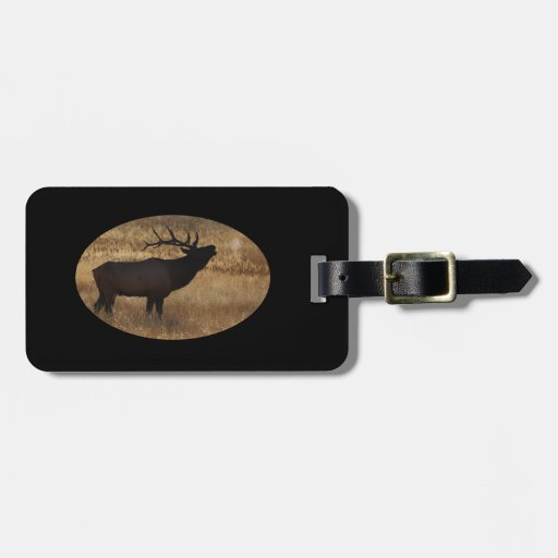 Bull elk bugling in silhouette tags for luggage