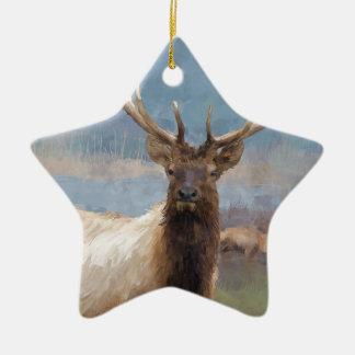 Bull elk by the river ceramic ornament