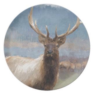 Bull elk by the river dinner plate