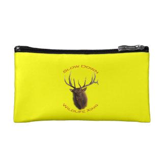 bull elk charging makeup bag