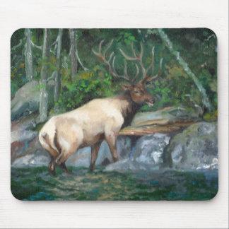 Bull elk crossing a river mouse pad