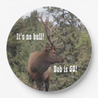 Bull Elk In Jasper, Alberta 50th Birthday Paper Plate