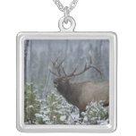 Bull Elk in snow calling, bugling, Yellowstone Pendant
