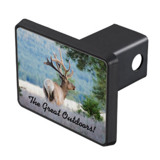 Bull Elk In Tall Grass Near Trees Photograph Hitch Cover