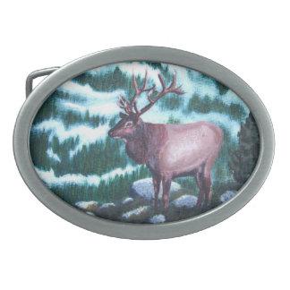 Bull Elk Oval Belt Buckle