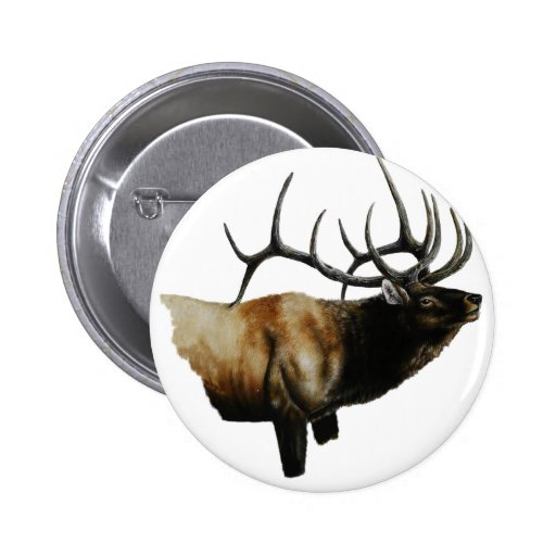 Bull Elk Painting on customizable products Pinback Buttons