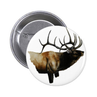 Bull Elk Painting on customizable products Pinback Button