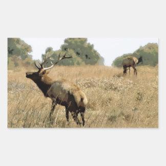 Bull Elk Rectangle Sticker