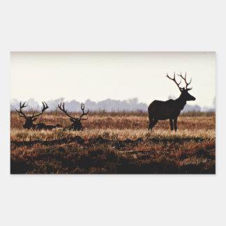 Bull Elk Silhouette Rectangular Sticker